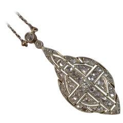 Rose Cut Diamond 18 Carat White Gold Pendant Necklace