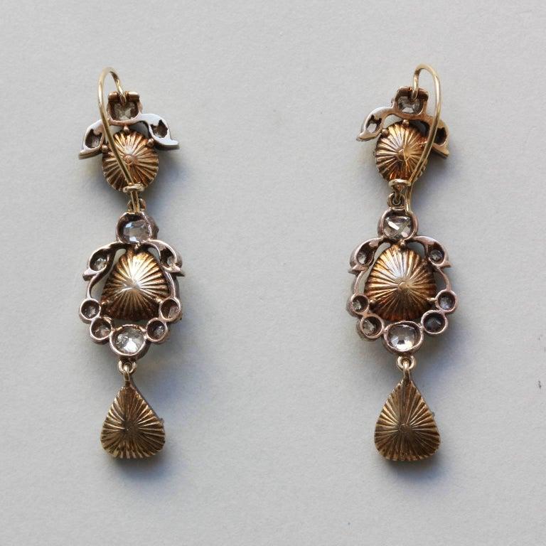 Cushion Cut Rose Cut Diamond 19th Century Earrings For Sale