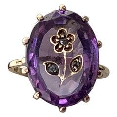 Rose Cut Diamond Amethyst Intaglio Ring Rose of Sharon Antique Victorian Flower