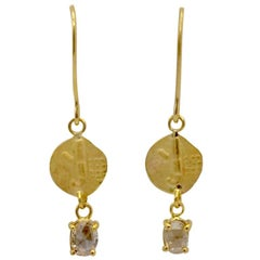 Rose Cut Diamond and 14 Carat Gold 'Coin' Drop Earrings