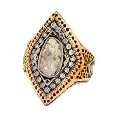 Rose Cut Diamond and 14k Yellow Gold Ring