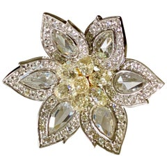 Rose Cut Diamond and Briolette Diamond Flower Ring in 18 Karat White Gold