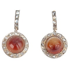 Rose Cut Diamond and Carnelian Scarab Beetle Earrings, circa 1920