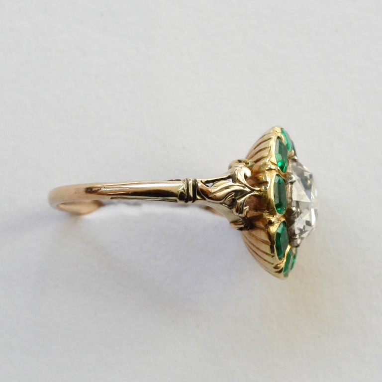 Women's or Men's 18th Century Rose Cut Diamond Emerald Gold  Cluster Ring For Sale