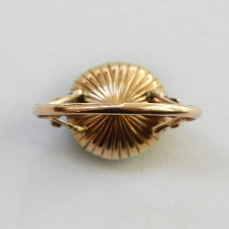 18th Century Rose Cut Diamond Emerald Gold  Cluster Ring For Sale 1