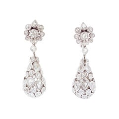 Rose-Cut Diamond and Gold Drop Earrings