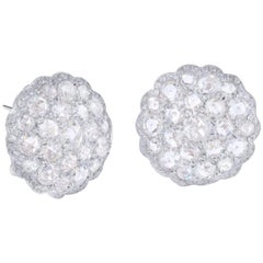 Rose-Cut Diamond and Round Brilliant Diamond Cluster Stud Earrings in 18 K Gold