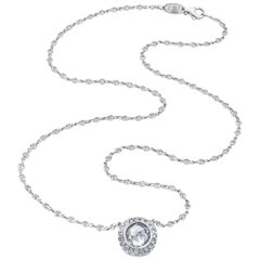 Rose Cut Diamond Antique Style Custom Halo All Diamond Pendant Necklace