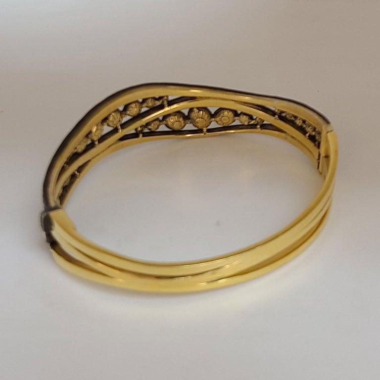 Artisan Rose-Cut Diamond bangle Bracelet For Sale