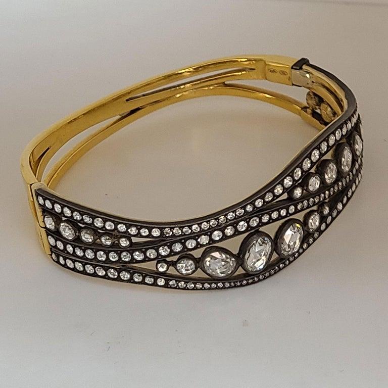 Rose Cut Rose-Cut Diamond bangle Bracelet For Sale