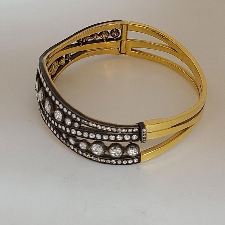 Rose-Cut Diamond bangle Bracelet In New Condition For Sale In Los Angeles, CA