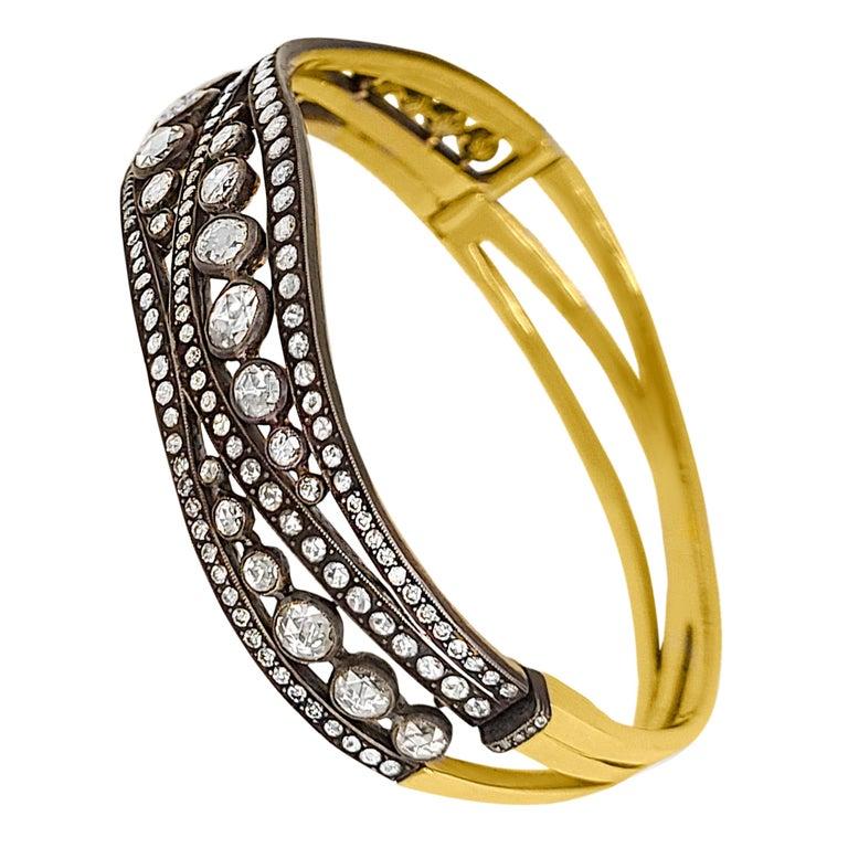 Rose-Cut Diamond bangle Bracelet For Sale