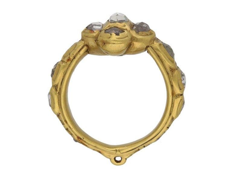 Stuart Rose Cut Diamond Cluster Ring, circa 17th Century For Sale