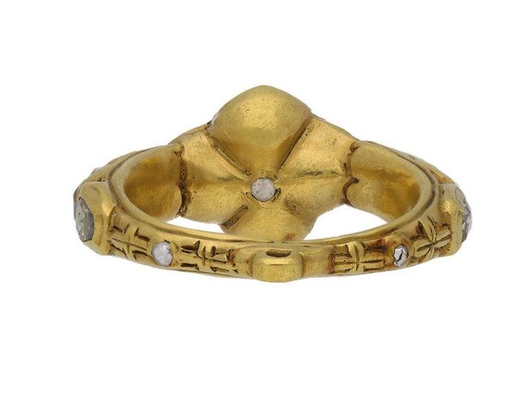 Rose Cut Diamond Cluster Ring, circa 17th Century For Sale 2