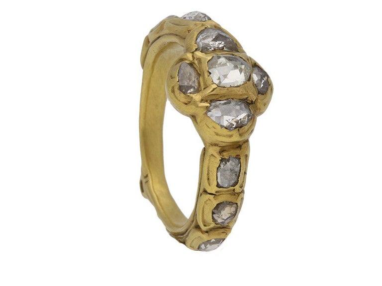 Rose Cut Diamond Cluster Ring, circa 17th Century For Sale 3