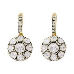 Rose-Cut Diamond Dangle Earrings in Victorian Style