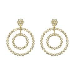 Rose-Cut Diamond Double Circle Drop Earrings