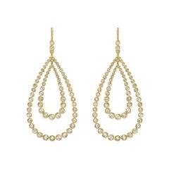 Rose-Cut Diamond Double Pear Drop Earrings