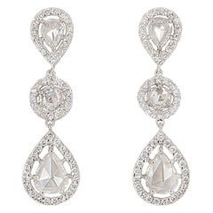 Rose Cut Diamond Drop Dangle Earrings