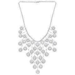 Rose Cut Diamond Drop Necklace in 18 Karat White Gold