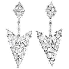 Rose-Cut Diamond Earrings, 4.45 Carat