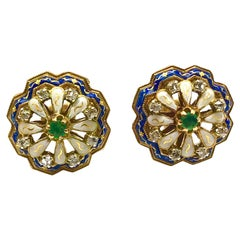 Rose-Cut Diamond Emerald and Enamel Yellow Gold Button Earrings