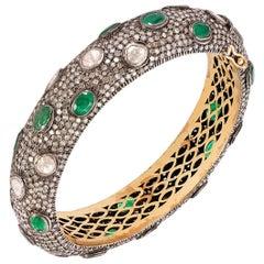 Rose Cut Diamond Emerald Silver and Gold Bracelet