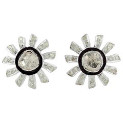 Rose Cut Diamond Enamel Stud Earrings