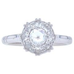 Rose Cut Diamond Engagement Ring, 18 Karat White Gold Genuine .63 Carat