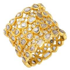 Rose Cut Diamond Eternity Band Ring