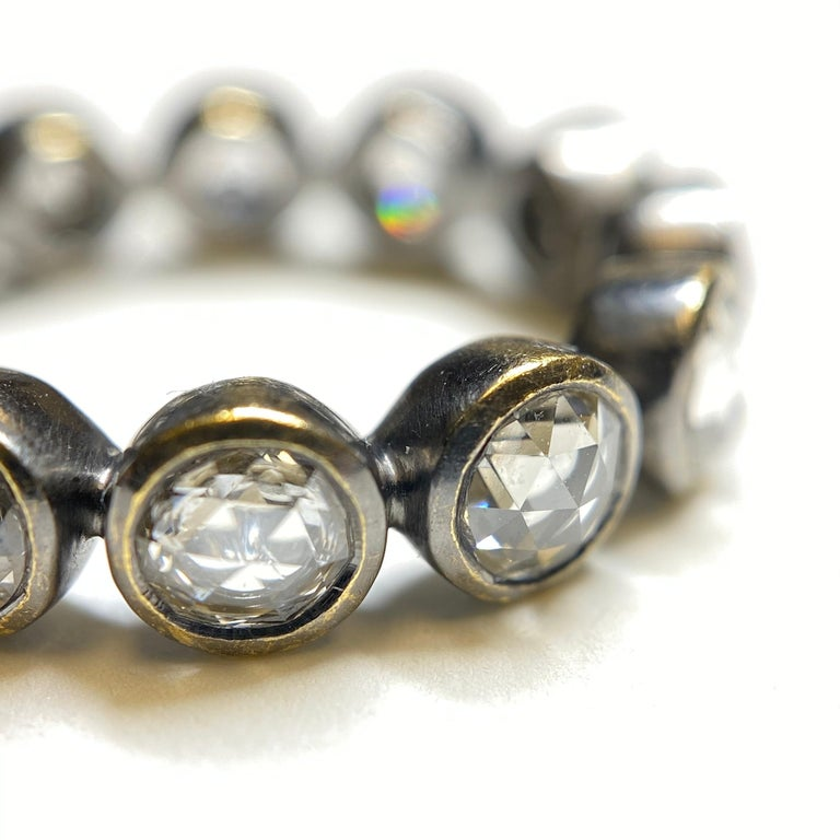 Rose Cut Diamond Eternity Ring in 22 Karat Gold, Blackened, A2 by Arunashi In New Condition In Beverly Hills, CA