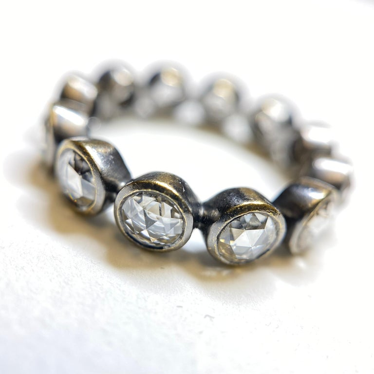 Women's or Men's Rose Cut Diamond Eternity Ring in 22 Karat Gold, Blackened, A2 by Arunashi