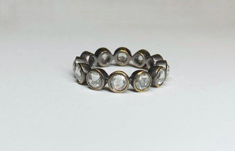 Rose Cut Diamond Eternity Ring in 22 Karat Gold, Blackened, A2 by Arunashi 1
