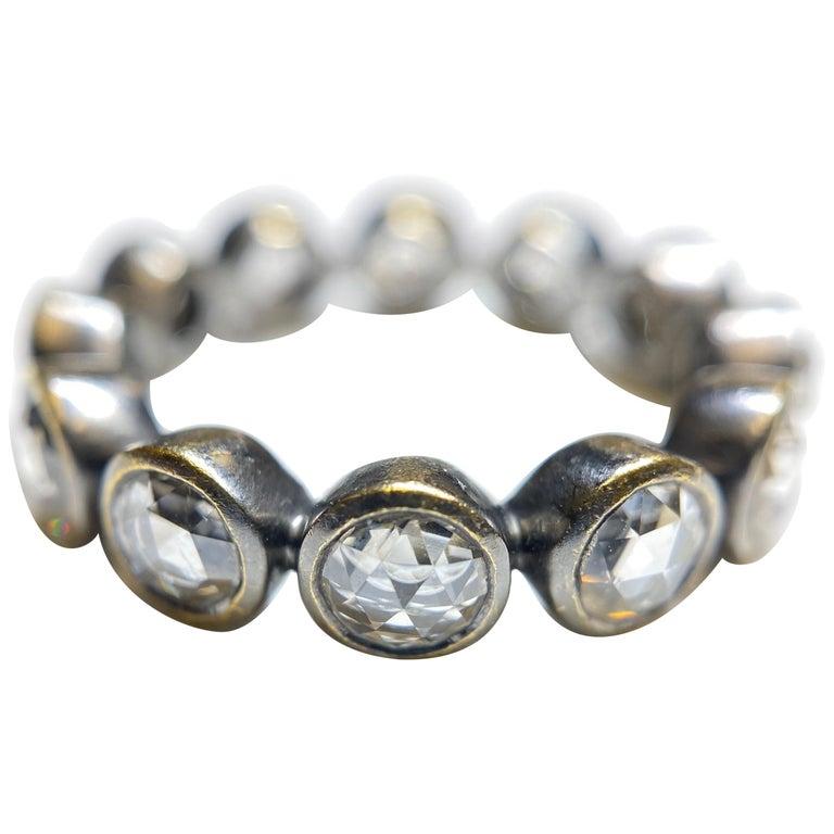 Rose Cut Diamond Eternity Ring in 22 Karat Gold, Blackened, A2 by Arunashi