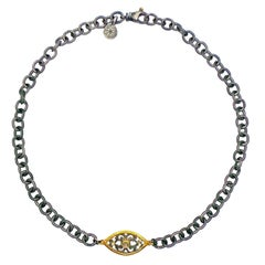 Rose-Cut Diamond Filigree Pendant on Oxidized Heavy Chain Necklace