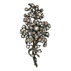 Rose-Cut Diamond Flower Brooch