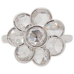 Rose Cut Diamond Flower Ring