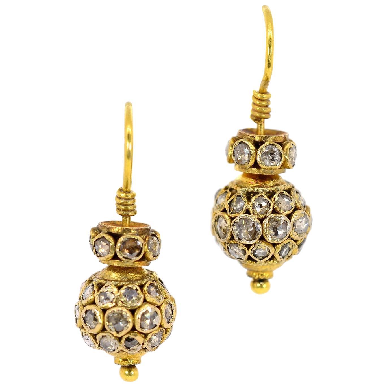 Rose Cut Diamond Gold Earrings