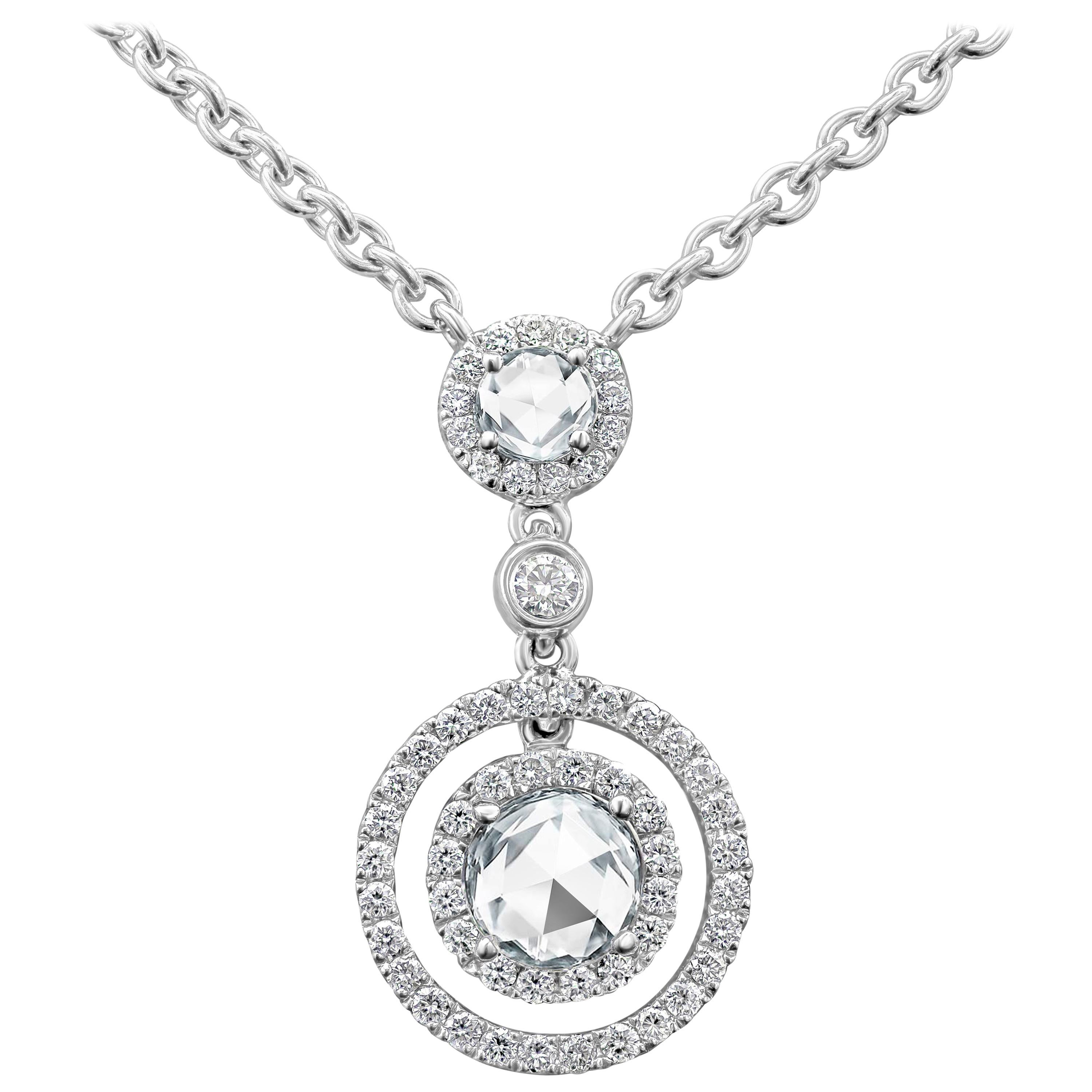 896843aa79274 Rose Cut Diamond Halo Pendant Necklace with Diamonds by the Yard Chain