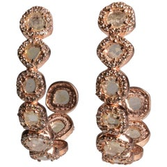 Rose-Cut Diamond Hoop Earrings in Rose Gold