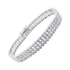 Rose Cut Diamond Male or Female Tennis Bracelet Set in Sterling Silver