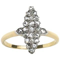 Rose Cut Diamond Navette Shaped Ring, circa 1880