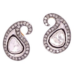 Rose Cut Diamond Paisley Stud Earrings