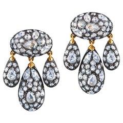 Fred Leighton Rose Cut Diamond Pave Modern Girandole Pendant Earrings