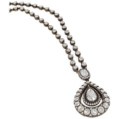 Rose-Cut Diamond Pendant Necklace