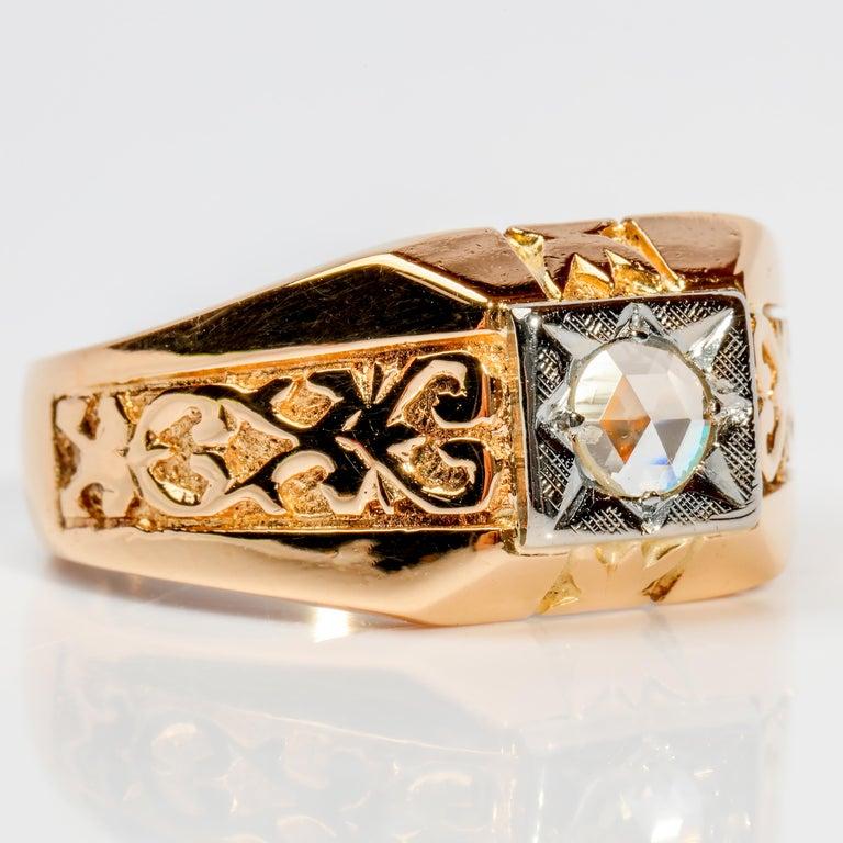 Jacobean Men's Diamond Ring Tudor Style, 1940s For Sale