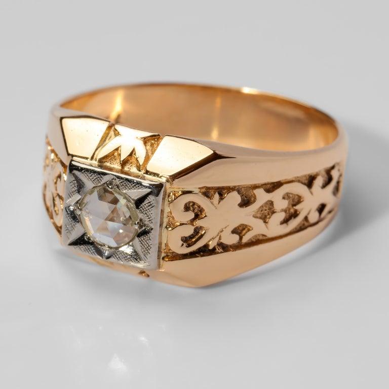 Rose Cut Men's Diamond Ring Tudor Style, 1940s For Sale
