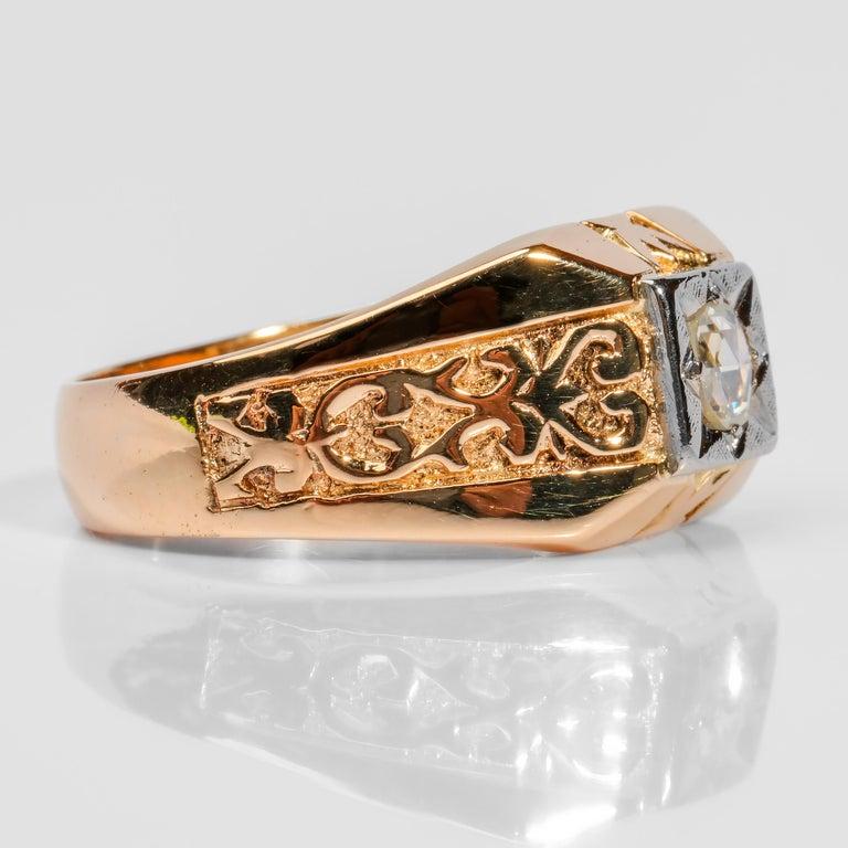 Women's or Men's Men's Diamond Ring Tudor Style, 1940s For Sale