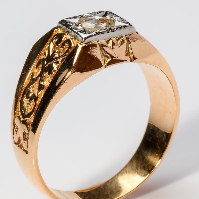 Men's Diamond Ring Tudor Style, 1940s For Sale 1