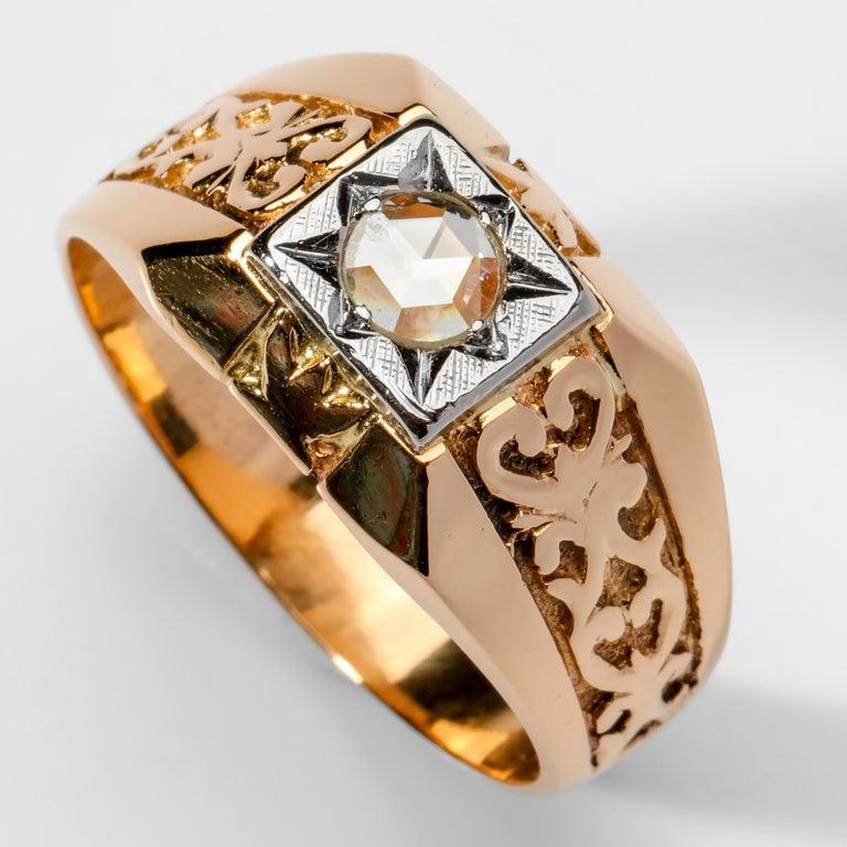 Men's Diamond Ring Tudor Style, 1940s For Sale 2